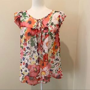 Sushi Flowers Light Flowy Sheer Floral Blouse